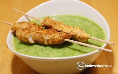Brokkoli-Suppe mit Paprika-Hähnchen