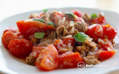 Reispfanne mit Hackfleisch und Tomaten – macht satt und glücklich